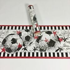 Village Wallpaper Border Soccer Sports Ball Team Boys Girls Black White 5 Yards