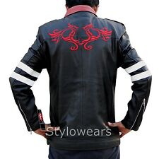 New Mens Smart Slim fit PROTOTYPE Alex Mercer Gaming Dragon Black Leather Jacket