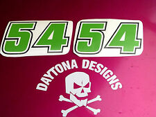 A PAIR OF NUMBER BOARD RACE NUMBERS CUSTOM DECALS STICKERS GREEN BLACK OUTLINE