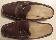 GEOX Respira Brown Leather Mules Slides Made in Italy Sz 38.5 US 8.5