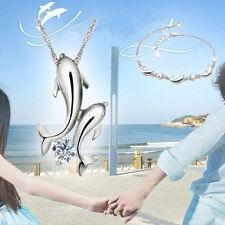 Double Dauphin strass court chaîne pendentif collier Bijoux Plaqué Argent Cadeau