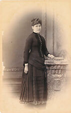 1880-89 Woman in Elaborately Pleated Dress Montgomery Lockport, NY Cabinet Photo