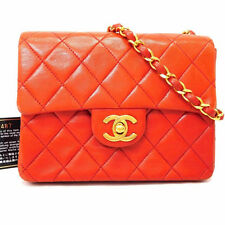 Authentic CHANEL Red Lambskin Single Chain Mini Matelasse Shoulder bag France