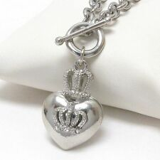 New Premier Electroplating Puffy Heart Crown Crystal Couture Toggle Necklace JM