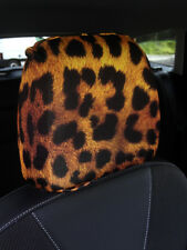 LEOPARD PRINT DESIGN CAR SEAT HEAD REST COVERS PACK OF 2 MADE IN YORKSHIRE