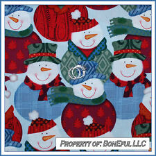 BonEful Fabric FQ Cotton Quilt L Snowman Face Hat Red Green Blue Child Dot Plaid