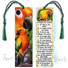 SUN CONURE Large BOOKMARK w/Tassel PET Bird Parrot FUN RULES Book Card Figurine