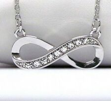 NEW CRYSTAL & SILVER INFINITY SIGN SYMBOL PENDANT NECKLACE WHITE GOLD