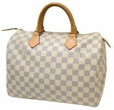 Authentic Louis Vuitton Damier Azur Canvas Iconic Speedy 30 Tote Bag