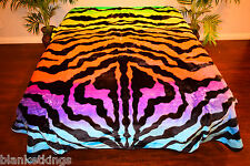 NEW 5 POUNDS SOFT QUEEN KOREAN MINK BLANKET Plush Throw RAINBOW COLOR ZEBRA