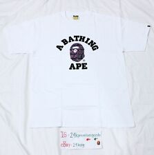 Bape Purple Text Camo College White T-Shirt Bathing Ape Tee Shark Kaws Milo NBHD