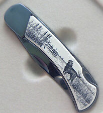 Lockback Knife Barlow Scrimshaw Carved Painted Art Labrador Black Lab 510516