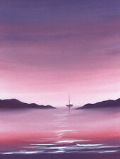 SARAH FEATHERSTONE, ORIGINAL WATERCOLOUR PAINTING, OUT TO SEA, EVENING SKY, ART
