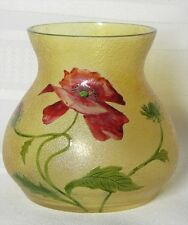 FRENCH CAMEO, BEAUTIFUL FLORAL ACID ETCHED ENAMELED POPPY VASE, DAUM GALLE ERA~~