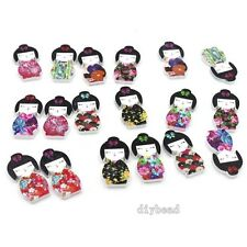 100x New Charms Colorful Wear Color kimono Girls wooden Sew-on buckles Craft D