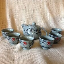 Japanese Porcelain BLUE HERON RED SUN 9 pc Multicolor Tea Set-MIB