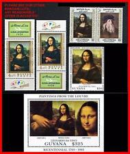 Leonardo da Vinci paintings / Mona Lisa = 5 different STAMPS + S/S block MNH **