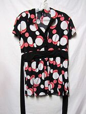 NEW DIRECTIONS Top Shirt Blouse Medium 6/8 Bust 40 Black MultiColor Modern Print