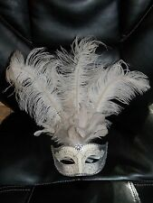 White Silver Glitter and Lace Masquerade Mask w/ Smoke Gray Feathers Mardi Gras