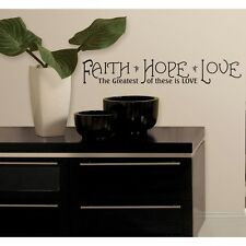 New Black FAITH HOPE LOVE WALL DECALS Room Quotes Stickers Inspirational Decor