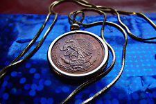 "Naturally Toned 1959 Mexican Eagle Coin Pendant & 24"" Gold Filled Snake Chain"