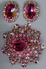 AUSTRIA VINTAGE DAZZLING FACETED SHADES OF PINK RHINESTONE PIN & EARRINGS SET