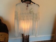 STUNNING IVORY LONG SLEEVED LACE GYPSY TOP BY OASIS NWT SIZE S 10 RRP £36