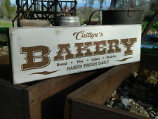 "Distressed Primitive Country Wood Sign - Your Name Bakery sign 5.5"" x 19"""