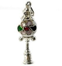 Sterling silver & white CLOISONNE lampione Charme