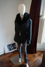 AC New Black Quilted Jacket With Fur Collar Size XL Fit a UK12