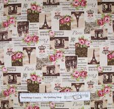 Country Patchwork Quilting Fabric Linen Allover Sewing 50x55 Paris Roses Cream