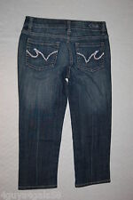 Junior Womens Pants DARK BLUE JEAN DENIM CAPRIS Pocket Bling LOW RISE Size 1