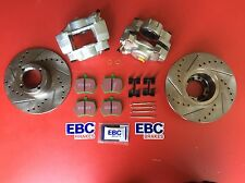 Classic Mini front brake upgrade kit drilled & grooved discs EBC pads calipers