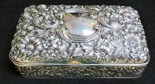 LARGE ANTIQUE GORHAM STERLING SILVER REPOUSSE LIDDED VANITY BOX JAR EX-CONDITION