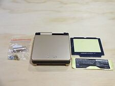 GBA SP Game Boy Advance SP Housing Shell GLASS Screen Lens Gold + Black!