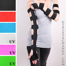 Cut Out Long Opera Gloves Black Arm Warmers Sleeves Fetish Bondage PVC Psy 1290