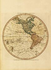 Carte antique Faden 1786 Western New World Hémisphère réplique Poster Print pam0896