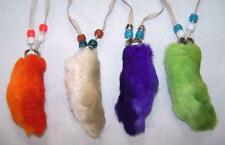 6 ASST COLOR RABBIT FOOT NECKLACES w beads suede leather bunny feet jewelry BULK