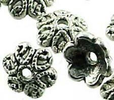 20 Silver Pewter Flower Bead Caps 9mm ~ Lead-Free ~
