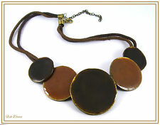 GORGEOUS ETHNIC STYLE TRIBAL EARTH TONES ENAMELLED DISCS LEATHER THONG NECKLACE.