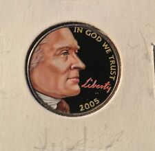 COLORIZED 2005 JEFFERSON NICKEL - COLORIZED ON FRONT ONLY