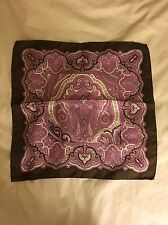 Etro Milano Brown Pink Silk Patterned Paisley Pocket Square - $135, Hand Rolled