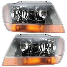 JEEP GRAND CHEROKEE 99-04 LEFT & RIGHT HEADLIGHTS HEADLAMPS PAIR SET LAREDO