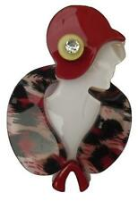 Red Lucite Flapper Lady Cloche Hat Fur Stole Arts Vintage Deco Pearlized Brooch