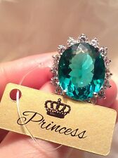 BIG 20 CT PRINCESS PARAIBA TOURMALINE RING, NEON EXOTIC BLUE 925 STERLING SILVER