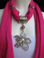 WOMEN PINK FASHION FABRIC SCARF LONG NECKLACE BIG BEADS METAL FLOWER PENDANT