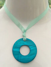 NEW - Large Turquoise Shell Ring Pendant Necklace with Ribbon Tie - Boho Glam