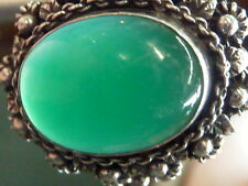RETRO ETRUSCAN STYLE 800 SILVER VINTAGE GREEN ONYX LADIES RING SZ 6