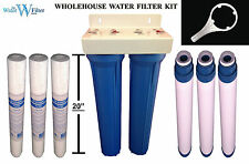 "Wholehouse Water Filter Kit Sediment + Carbon filtration dual 20"" Housing Pods"
