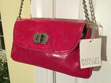 New $295 BADGLEY MISCHKA Pink Leather Anouck Shine HANDBAG SHOULDER-BAG CLUTCH
